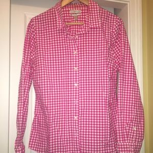 J.Crew Pink Gingham Perfect Oxford Shirt